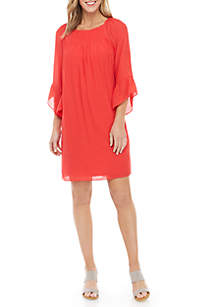 New Directions® 3/4 Sleeve Smocked Neck Linen Slub Dress