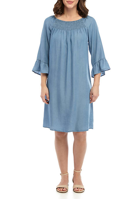 Petite 3/4 Sleeve Tencel® Smocked Neckline Dress