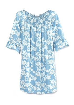 New Directions Womens Petite 3 4 Bell Sleeve Smocked Front Dress