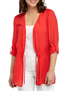 New Directions® Cinched Waist Roll Tab Sleeve Jacket