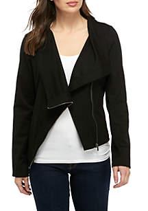 New Directions® Drape Front Moto Ponte Jacket