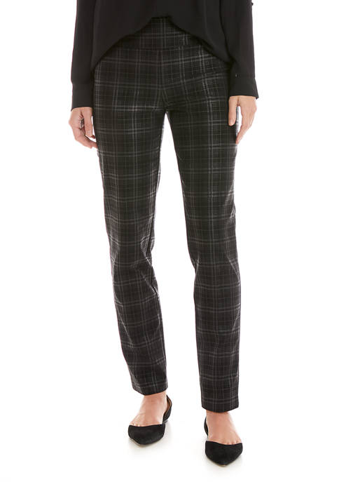 New Directions® Womens Foiled Black Plaid Pants