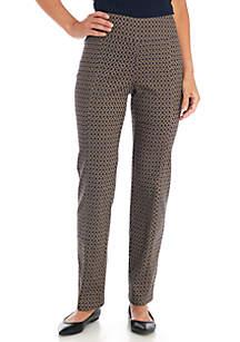 Pull-On Printed Jacquard Pants