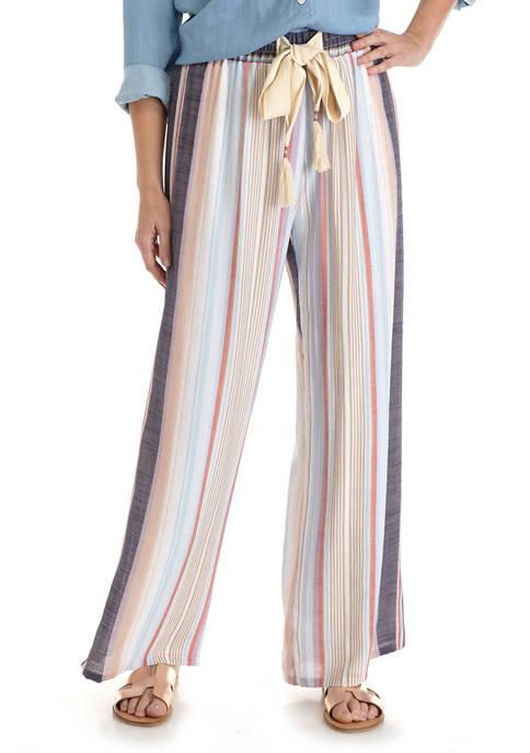 Womens Multi Stripe Linen Pants