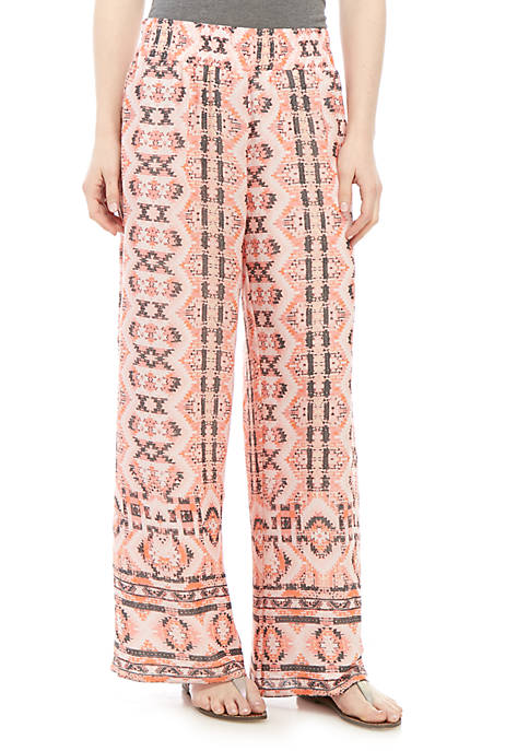 Pull On Printed Patch Linen Palazzo Pants