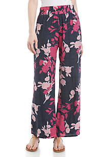 New Directions® Pull On Printed Patch Linen Palazzo Pants