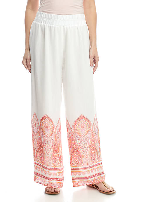 New Directions® Pull On Printed Patch Linen Palazzo