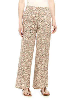 3ae69e08cd New Directions® Pull On Printed Patch Linen Palazzo Pants ...