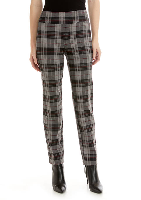 New Directions® Womens Charcoal Plaid Ponte Pants