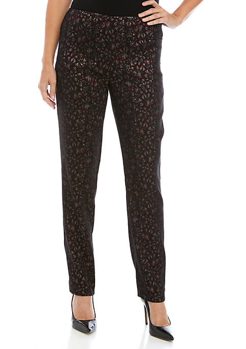 New Directions® Womens Metallic Floral Millennium Pants