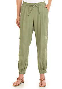 Tie Waist Washed Utility Joggers