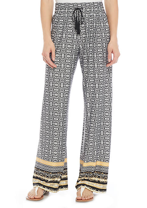 New Directions® Tie Front Border Print Palazzo Pants