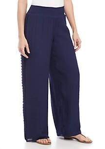 New Directions® Linen Slub Solid Pants with Crochet Sides