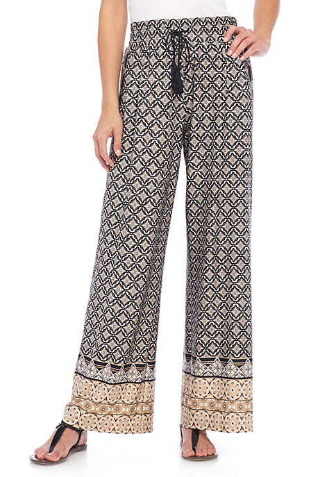 New Directions® Printed DTY Pull-On Palazzo Pants
