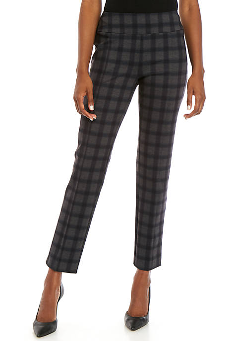 New Directions® Ponte Small Check Straight Pants