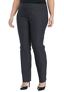 Plus Size Stretch and Woven Pull-on Pants