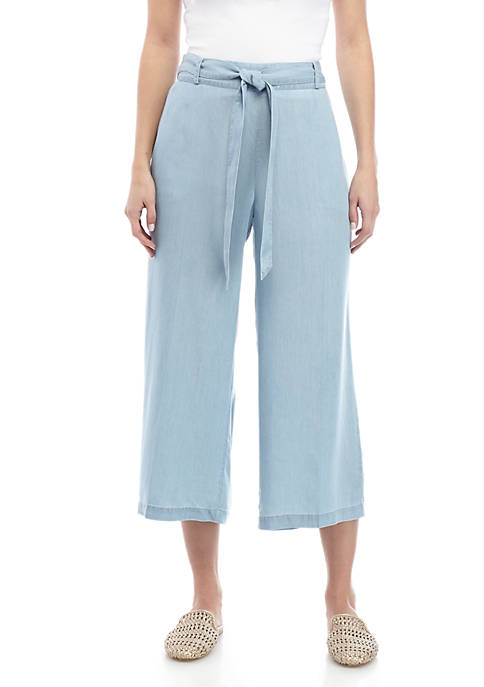 Womens Tie Waist Culotte Pants