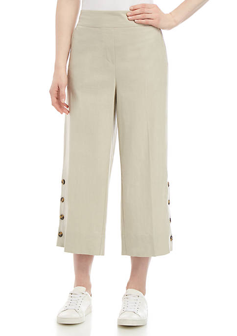 New Directions® Solid Linen Cropped Pants with Buttons