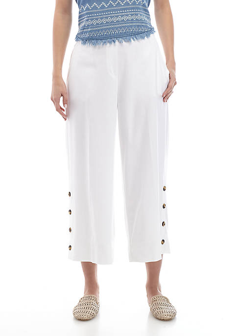 New Directions® Womens Cropped Wide Leg Linen Pants