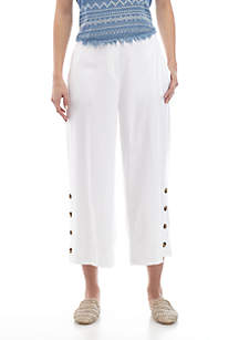New Directions® Cropped Wide Leg Linen Pants