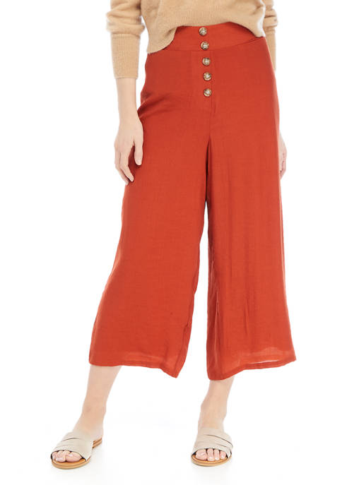 New Directions® Womens Wide Leg Button Front Cropped