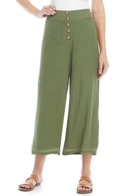 Womens Wide Leg Button Front Cropped Pants