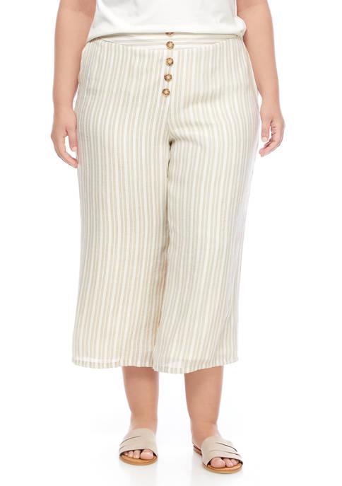 New Directions® Plus Size Linen Like Wide Leg