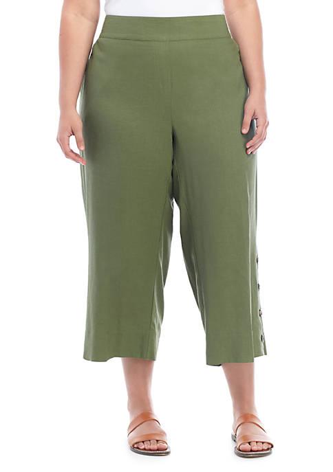 Plus Size Linen Pants with Button Trim