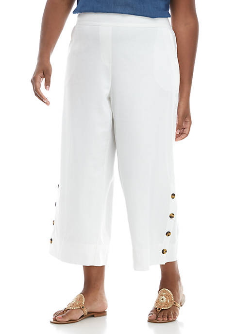 New Directions® Plus Size Linen Pants with Button