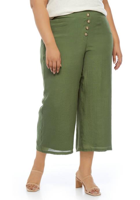 Plus Size Linen Like Wide Leg Pants