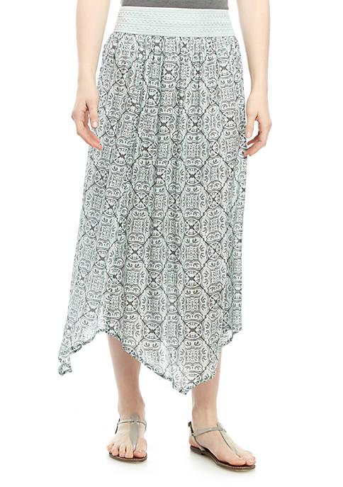 New Directions® Printed Multi Point Hem Skirt