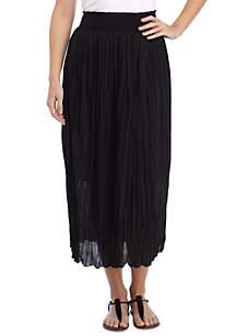 Crinkle Skirt With Smocked Waistband