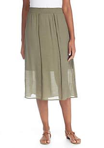 Linen Smocked Slub Waistband Skirt