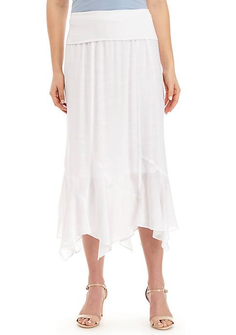 Fold Over Linen Slub Pointed Skirt