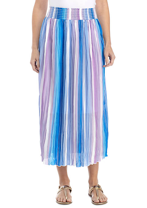 New Directions® Crinkled Printed Skirt