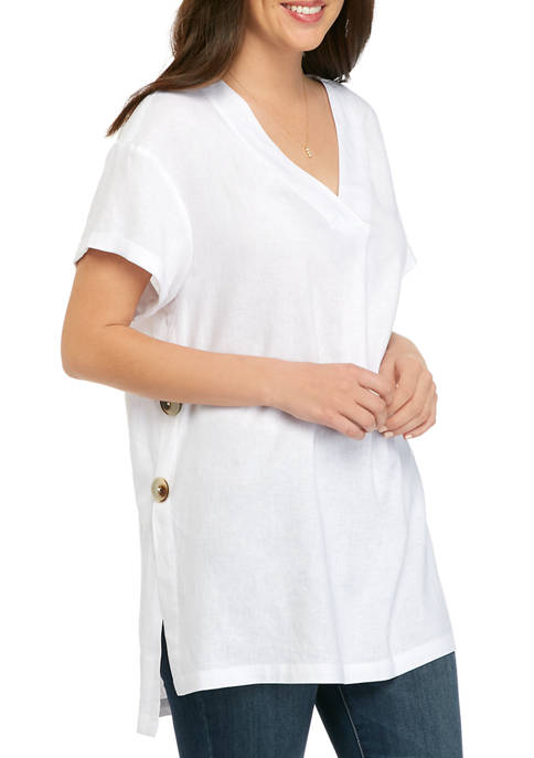 New Directions® Womens Short Sleeve Large Button Linen