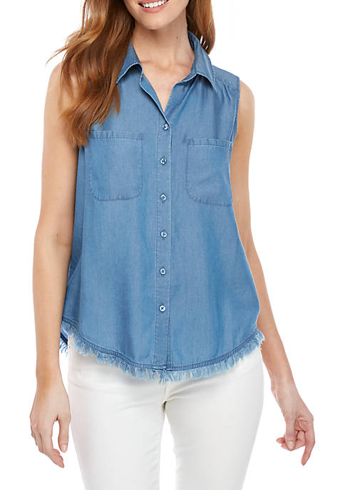 Womens Sleeveless Button Front Top