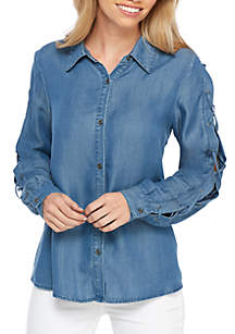 Chambray Lace Up Sleeve Top