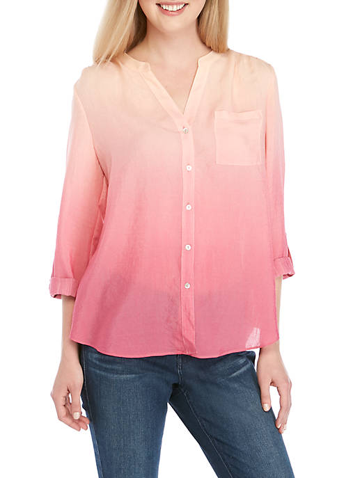 3/4 Roll-Tab Sleeve Button Front Tie Ombre Top