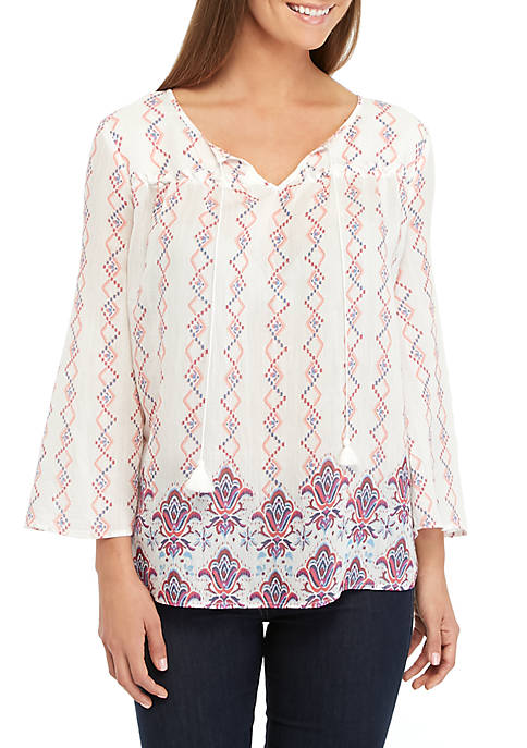 New Directions® 3/4 Sleeve Printed Linen Top with