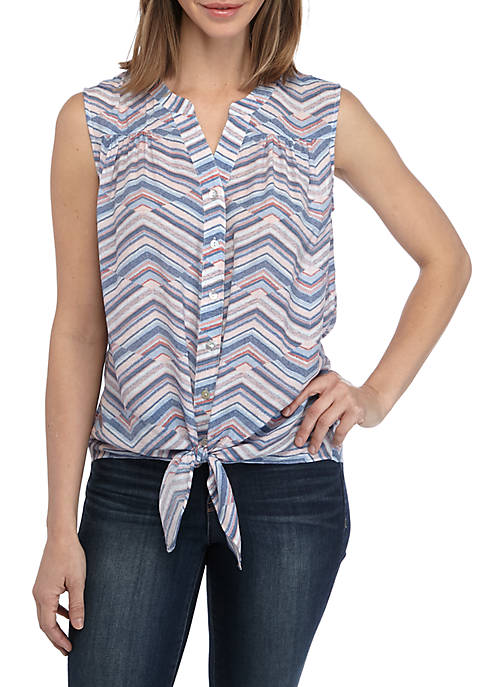 New Directions® Womens Tie Front Printed Tank