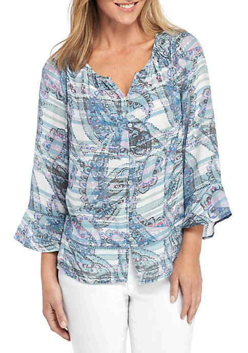 3/4 Sleeve Printed Button Front Linen Slub Top