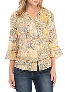 New Directions® 3/4 Sleeve Printed Button Front Linen Slub Top