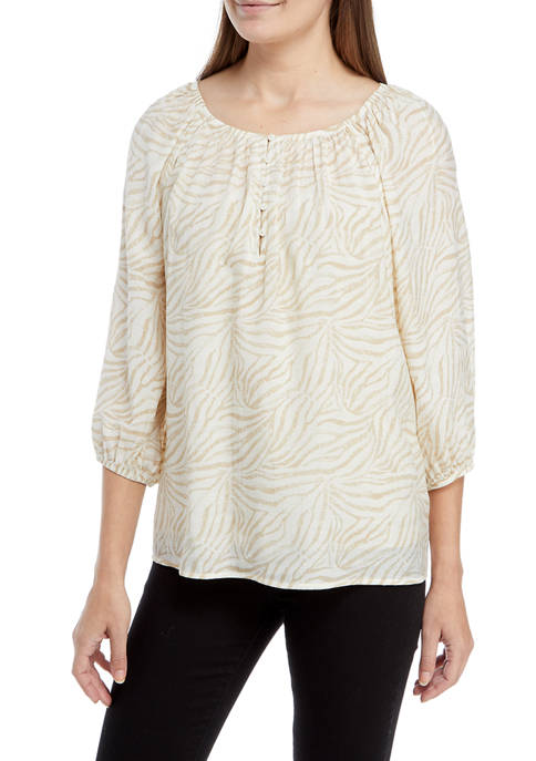 New Directions® Womens 3/4 Sleeve Peasant Top