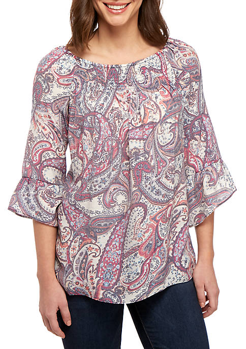 3/4 Flare Sleeve Smocked Neck Top