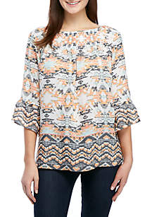 New Directions® 3/4 Flare Sleeve Smocked Neck Top