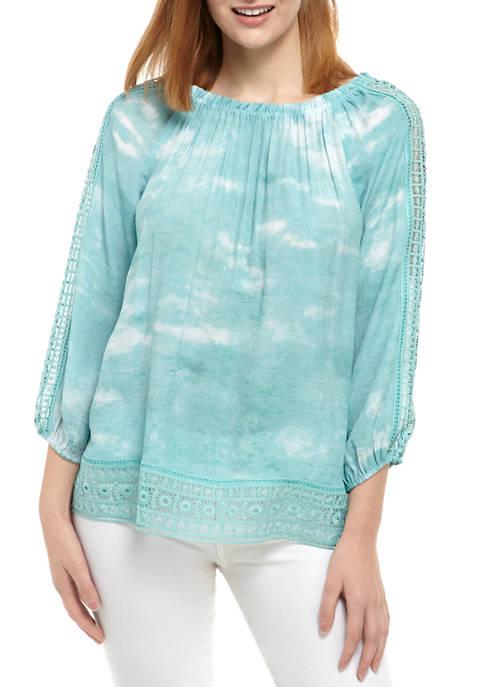New Directions® Womens 3/4 Blouson Sleeve Tie Dye