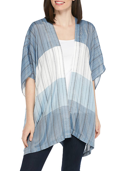 New Directions® Short Sleeve Patchwork Stripe Linen Slub