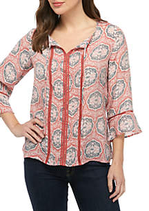 New Directions® 3/4 Sleeve V Neck Pintuck Top