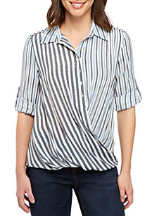New Directions® 3/4 Roll Tab Sleeve Mixed Stripe Top with Crochet Inset